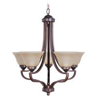 Portia 5 Light 27 inch Metropolitan Bronze Chandelier Ceiling Light in Amber Frost Glass
