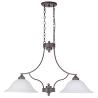 Portia 2 Light 34 inch Metropolitan Bronze Island Ceiling Light in White Frosted Glass