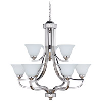 Portia 9 Light 34 inch Polished Nickel Chandelier Ceiling Light in White Frosted Glass