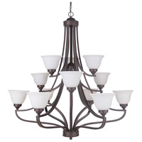 Portia 12 Light 45 inch Metropolitan Bronze Chandelier Ceiling Light in White Frosted Glass