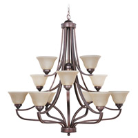 Portia 12 Light 45 inch Metropolitan Bronze Chandelier Ceiling Light in Amber Frost Glass