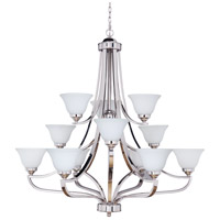 Portia 12 Light 45 inch Polished Nickel Chandelier Ceiling Light in White Frosted Glass