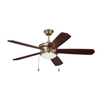 Ellington by Craftmade Abbey 1 Light 52-inch Ceiling Fan in Legacy Brass with Dark Walnut and Walnut Blades ABY52LB5