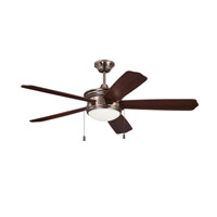 Ellington by Craftmade Abbey 1 Light 52-inch Ceiling Fan in Tarnished Silver with Dark Walnut and Walnut Blades ABY52TS5