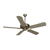 Craftmade K10016 American Tradition 52 inch Brushed Satin Nickel with Brushed Nickel Blades Ceiling Fan With Blades Included in MDF Blades, Standard, 0, Light Kit Sold Separately