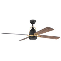 Craftmade BEC52FBSB4 Beckett 52 inch Flat Black/Satin Brass with Barnwood Blades Ceiling Fan