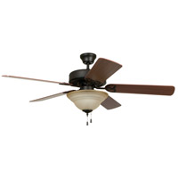 Craftmade BLD52ABZ5C1 Builder Deluxe 52 inch Aged Bronze Brushed with Reversible Dark Oak and Mahogany Blades Ceiling Fan