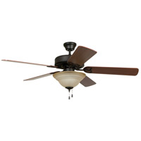 Craftmade BLD52ABZ5C1 Builder Deluxe 52 inch Aged Bronze Brushed with Reversible Dark Oak and Mahogany Blades Ceiling Fan in Reversible Dark Oak/Mahogany, Tea-Stained Glass, Blades Included