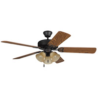 Craftmade BLD52ABZ5C3 Builder Deluxe 52 inch Aged Bronze Brushed with Reversible Dark Oak and Mahogany Blades Ceiling Fan in Reversible Dark Oak/Mahogany, Tea-Stained Glass, Blades Included