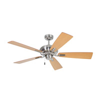 Boulevard 54 inch Brushed Polished Nickel Dark Walnut/Maple Ceiling Fan with Blades Included