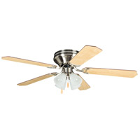 Brilliante 52 inch Brushed Nickel with Ash and Mahogany Blades Indoor Ceiling Fan in 4, Alabaster Glass