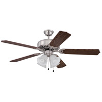 Craftmade Pro Builder 203 4 Light Ceiling Fan in Brushed Polished Nickel with White Frost Glass with Dark Oak Blades K11202