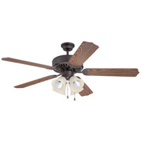 Craftmade Pro Builder 204 4 Light Ceiling Fan in Aged Bronze Brushed with Amber Frost Glass with Dark Oak Blades K11203