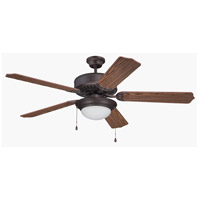 Craftmade Pro Builder 209 2 Light Ceiling Fan in Aged Bronze Brushed with Opal White Glass with Dark Oak Blades K11206