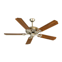 Craftmade K10387 Pro Builder 52 inch Brushed Satin Nickel with Walnut Blades Ceiling Fan With Blades Included in Contractor Plus Walnut