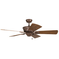 Chaparral 52 inch Aged Bronze Textured with Hand-Scraped Dark Oak Blades Ceiling Fan in Solid Wood Blades, Premier, Light Kit Sold Separately, Damp