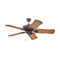 Cordova 52 inch Aged Bronze Textured with Pecan Blades Ceiling Fan in Solid Wood Blades, Custom Carved, Light Kit Sold Separately