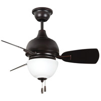 Dane 30 inch Oiled Bronze Gilded with Walnut Blades Ceiling Fan in White Frosted Glass