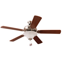 Craftmade DCF52BNK5C1 Decorators Choice 52 inch Brushed Polished Nickel with Reversible Light Maple and Light Mahogany Blades Ceiling Fan
