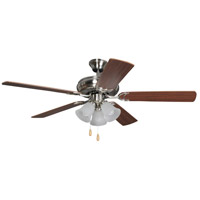 Craftmade DCF52BNK5C3 Decorators Choice 52 inch Brushed Polished Nickel with Reversible Light Maple and Light Mahogany Blades Ceiling Fan in 3, Brushed Nickel, Frosted Ribbed Glass, Blades Included