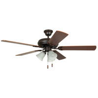 Craftmade DCF52FBZ5C3 Decorators Choice 52 inch French Bronze with Reversible Dark Oak and Mahogany Blades Ceiling Fan in 3, Frosted Ribbed Glass, Blades Included
