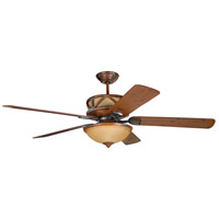 Craftmade DL60DMI5CRW Deer Lodge 60 inch Dark Mahogany and Iron with Reversible Mahogany and Pine Blades Ceiling Fan in Tea-Stained Glass, Blades Included