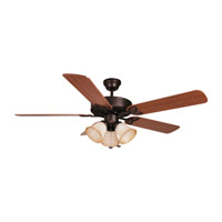 Builder Deluxe 52 inch Aged Bronze with Dark Oak/Mahogany Blades Ceiling Fan With Blades Included in Reversible Dark Oak/Mahogany, Tea-Stained Glass