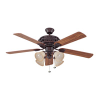 Grandeur 52 inch Aged Bronze with Dark Oak and Mahogany Blades Indoor Ceiling Fan in 4, Tea-Stained Glass
