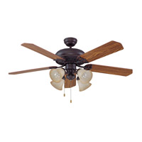 Craftmade MAN52ABZ5C4 Manor 52 inch Aged Bronze Brushed with Reversible Mahogany and Dark Oak Blades Ceiling Fan in 4, Alabaster Glass, Blades Included