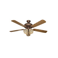 Piedmont 52 inch Aged Bronze with Mahogany and Dark Oak Blades Indoor Ceiling Fan in Tea-Stained Glass