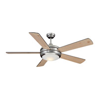 Titan 52 inch Satin Chrome with Black and White Pine Blades Indoor Ceiling Fan in Opal Glass