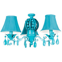 Craftmade ECK898TQ Antoinette 3 Light Incandescent Turquoise Fan Light Kit, Universal Mount Bell
