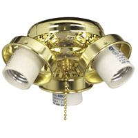 Craftmade EUC32BB Universal 3 Light Incandescent Bright Brass Fan Light Fitter in Polished Brass, Shades Sold Separately photo thumbnail