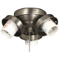 Universal 3 Light Incandescent Brushed Chrome Fan Light Fitter, Shades Sold Separately