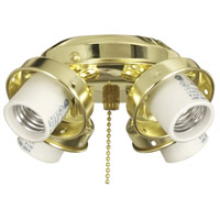 Universal 4 Light Incandescent Polished Brass Fan Light Fitter, Shades Sold Separately