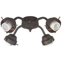 Universal LED Aged Bronze Textured Fan Light Fitter, Shades Sold Separately