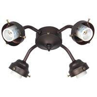 Universal 4 Light Incandescent Aged Bronze Brushed Fan Light Fitter, Shades Sold Separately