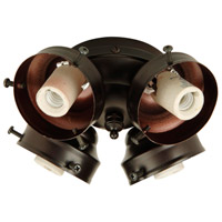 Universal 4 Light Incandescent Oiled Bronze Fan Light Fitter, Shades Sold Separately