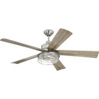 Craftmade GAR56BNK5 Garrick 56 inch Brushed Polished Nickel with Driftwood Blades Indoor/Outdoor Ceiling Fan