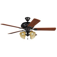 Grandeur 52 inch Aged Bronze Brushed with Reversible Dark Oak and Mahogany Blades Ceiling Fan in 4, Tea-Stained Glass, Blades Included