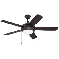 Craftmade HE52OBG5-WG-LED Helios 52 inch Oiled Bronze Gilded with Reversible Walnut and Oiled Bronze Blades Ceiling Fan in White Frosted Glass, Blades Included