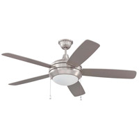 Helios 52 inch Stainless Steel with Brushed Nickel Blades Ceiling Fan in Matte Opal Glass, Fluorescent