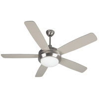 Helios 52 inch Stainless Steel Indoor Ceiling Fan in White Frosted Glass, Halogen