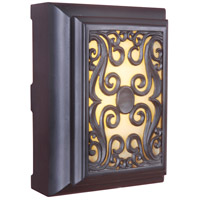 Framed Scroll Oiled Bronze Illuminated Chime in Amber Frost Glass