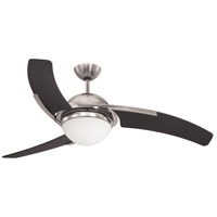 Craftmade JU54PLN3-LED Juna 54 inch Polished Nickel with Flat Black Blades Ceiling Fan in Walnut LED Blades Included