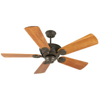 Chaparral 52 inch Aged Bronze Textured with Hand-Scraped Teak Blades Ceiling Fan With Blades Included in Solid Wood Blades, Premier, Light Kit Sold Separately