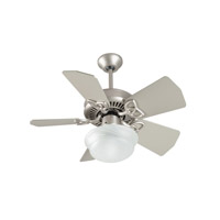 Piccolo 30 inch Brushed Satin Nickel with Brushed Nickel Blades Ceiling Fan With Blades Included in Antique White, Light Kit Sold Separately