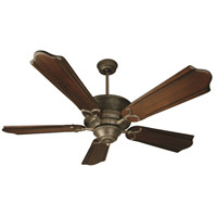Craftmade K10182 Riata 56 inch Aged Bronze Textured with Classic Ebony Blades Ceiling Fan Kit in Light Kit Sold Separately, Custom Carved Classic Ebony