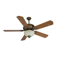 Mia 52 inch Aged Bronze/Vintage Madera with Reversible Dark Coffee/Dark Oak Blades Ceiling Fan With Blades Included in MDF Blades, Standard, Aged Bronze and Vintage Madera, Tea-Stained Glass