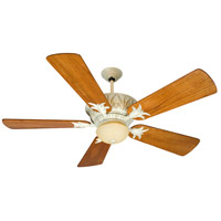 Pavilion 52 inch Antique White Distressed with Distressed Teak Blades Ceiling Fan With Blades Included in Solid Wood Blades, Premier